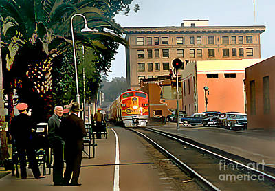 Santa Fe Train Comes Into Town Art Print