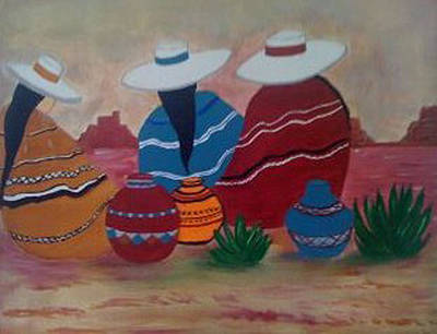 Santa Fe Women Art Print by Judi Goodwin