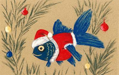 Painting - Santa Fish by Anastasiya Malakhova