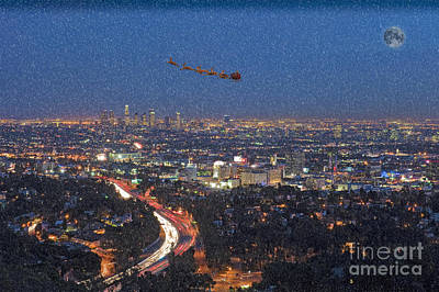 Photograph - Santa Flying Over Los Angeles by David Zanzinger