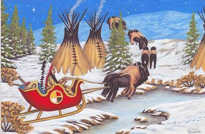 Painting - Santa For Indians by Billie Bowles