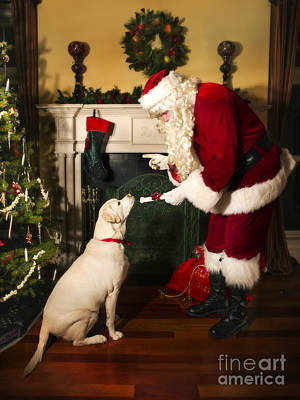 Santa Giving The Dog A Gift Art Print by Diane Diederich