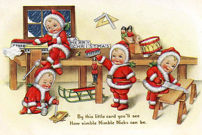 Santa Helpers At Work Art Print by Munir Alawi