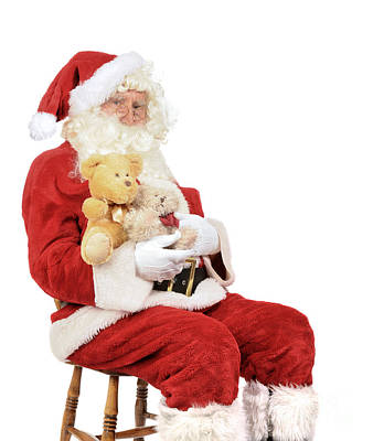 Santa Holding Teddy Bears Art Print