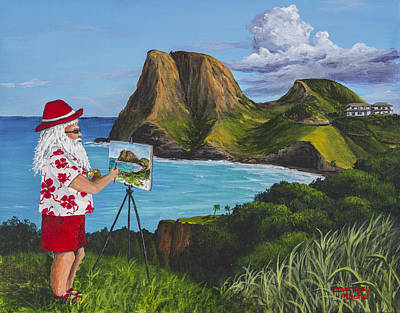 Christmas Greeting Painting - Santa In Kahakuloa Maui by Darice Machel McGuire