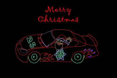 Photograph - Santa In Race Car by Deb Buchanan