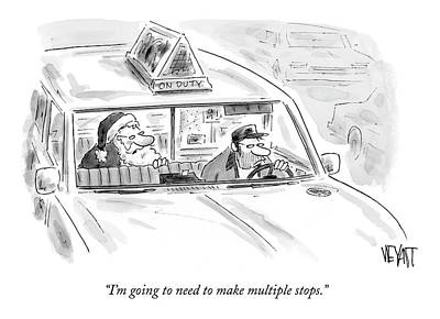 December 25th Drawing - Santa In The Back Of A Cab by Christopher Weyant
