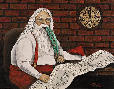Painting - Santa Is Checking His List by Darice Machel McGuire