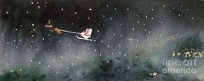 Santa Is Coming Print by Yoshiko Mishina