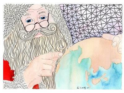 Santa Is Planning Art Print by Paula Dickerhoff