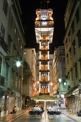 Night Photograph - Santa Justa Elevator In Lisbon by Jose Elias - Sofia Pereira