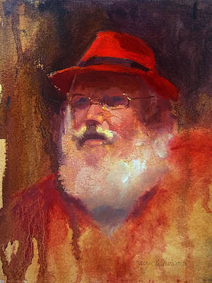 Christmas Greeting Painting - Santa by Karen Whitworth