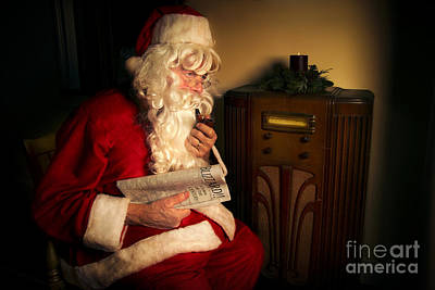 Santa Listening To The Weather Report Art Print by Diane Diederich