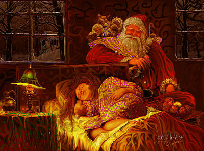 Santa Loves Cookies Art Print