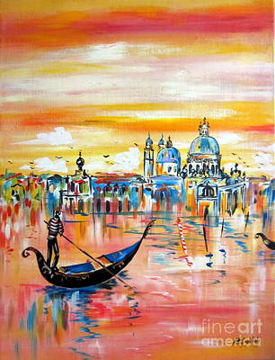 Painting - Santa Maria Della Salute And The Gondola In Venice by Roberto Gagliardi