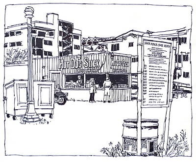 Santa Monica Drawing - Santa Monica Beach Hot Dog Stand  by Robert Birkenes