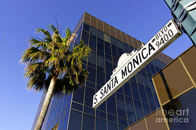 Upscale Photograph - Santa Monica Blvd Sign In Beverly Hills California by Paul Velgos