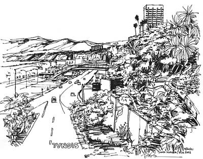 Santa Monica Drawing - Santa Monica Ca - Pacific Coast Highway Starts Here by Robert Birkenes