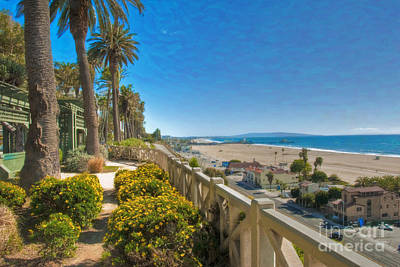 Photograph - Santa Monica Ca Palisades Park View Of Sm Pier by David Zanzinger