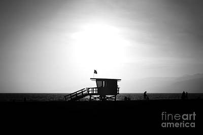 Santa Monica Lifeguard Tower In Black And White Art Print by Paul Velgos