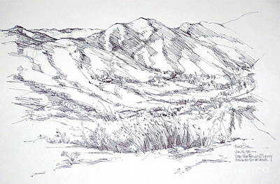 Santa Monica Drawing - Santa Monica Mountains View From Kanan Road by Robert Birkenes