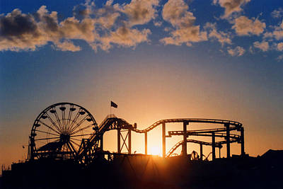 Wheel Photograph - Santa Monica Pier by Art Block Collections