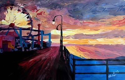Santa Monica Pier At Dawn Art Print