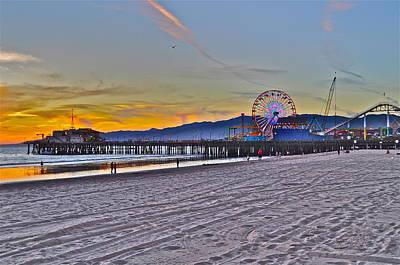 Santa Monica Pier At Dusk Art Print by Joe  Burns