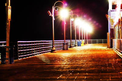 Santa Monica Pier At Night Art Print