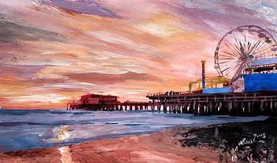 Santa Monica Painting - Santa Monica Pier At Sunset by M Bleichner