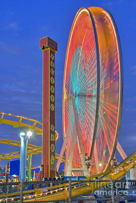 Photograph - Santa Monica Pier Ferris Wheel In Motion Dusk Sunset by David Zanzinger