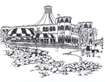 Santa Monica Drawing - Santa Monica Pier Merry Go Round by Robert Birkenes