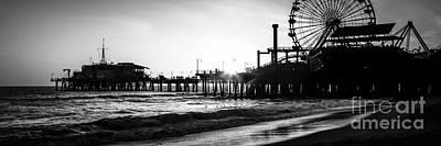 Santa Monica Pier Panorama Black And White Photo Print by Paul Velgos