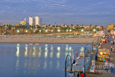 Photograph - Santa Monica Pier Pov  Beach City Boardwalk At Sunset by David Zanzinger
