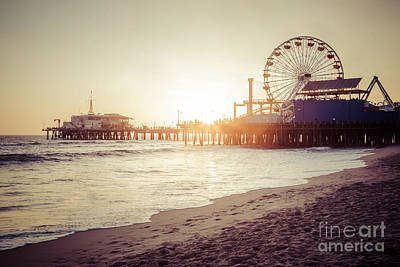 Ferris Wheel Photograph - Santa Monica Pier Retro Sunset Picture by Paul Velgos
