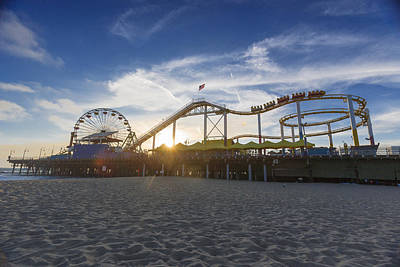 Santa Monica Pier Roller Coaster On Top Print by Scott Campbell