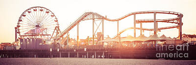 Santa Monica Pier Roller Coaster Panorama Photo Art Print by Paul Velgos