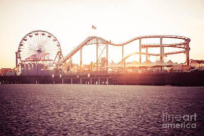 Roller Coaster Photograph - Santa Monica Pier Roller Coaster Retro Photo by Paul Velgos