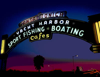 Santa Monica Mixed Media - Santa Monica Pier Sign At Night by Charles Shoup