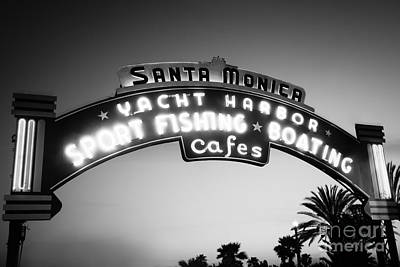 Los Angeles County Photograph - Santa Monica Pier Sign In Black And White by Paul Velgos