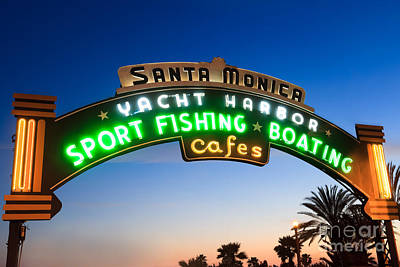 Santa Monica Pier Sign Print by Paul Velgos