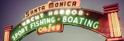 Santa Monica Pier Photograph - Santa Monica Pier Sign Vintage Panoramic Photo by Paul Velgos