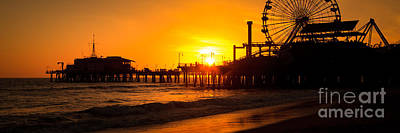 Santa Monica Pier Sunset Panorama Photo Art Print by Paul Velgos