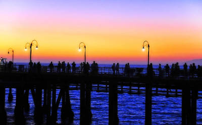 A Summer Evening Landscape Photograph - Santa Monica Pier Sunset Silhouettes by Lynn Bauer