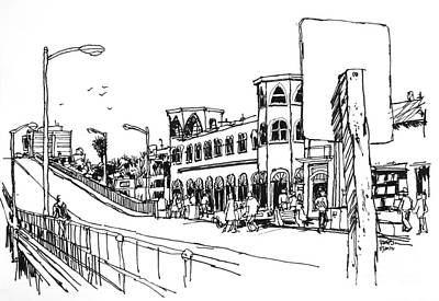 Santa Monica Drawing - Santa Monica Pier With Merry-go-round Building by Robert Birkenes