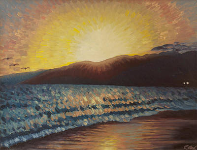 Santa Monica Mixed Media - Santa Monica Sunset by Claudia Cox