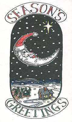 Drawing - Santa Moon by Ralf Schulze