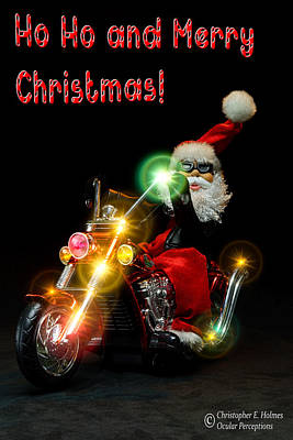 Photograph - Santa Motoring - Merry Christmas by Christopher Holmes