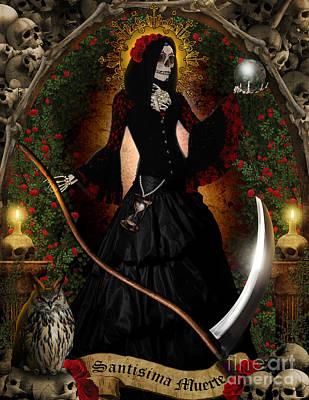 Reaper Mixed Media - Santa Muerte by Pixl Vixl