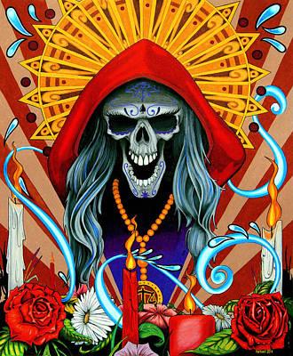 Sugar Skull Drawing - Santa Muerte by Steve Hartwell